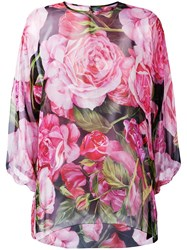Dolce And Gabbana Rose Print Sheer Blouse Pink Purple