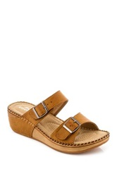 Godiva Buckle Wedge Sandal Brown