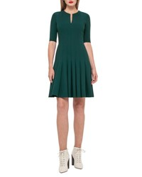 Akris Double Faced Leather Inset Sheath Dress Seabiscuit