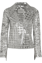 Finds Teatum Jones Dallas Fringed Metallic Jacquard Biker Jacket