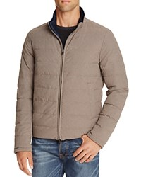 Herno Reversible Flannel Nylon Quilted Down Jacket Navy Grey