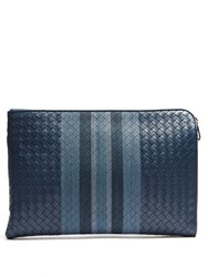 Bottega Veneta Intrecciato Leather Document Holder Blue