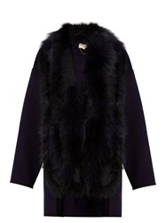 Vanessa Bruno Feuillantine Detachable Fur Coat Navy