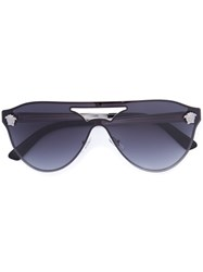 Versace 'Aviator Shields' Sunglasses With Silver Medusa Unisex Metal Other One Size Black