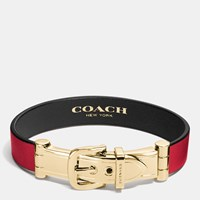 Coach Wide Two Tone Leather Buckle Bracelet Gold Red Black