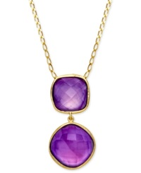 Macy's 18K Gold Over Sterling Silver Necklace Amethyst Pendant 24 1 4 Ct. T.W.