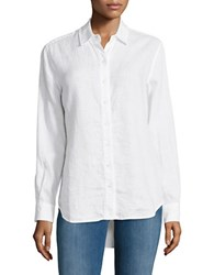 Lord And Taylor Petite Linen Button Down Shirt White