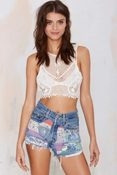 Nasty Gal After Party Vintage Patch It Up Quiltwork Cutoffs