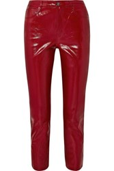 J Brand Ruby Cropped High Rise Slim Leg Patent Leather Jeans Red