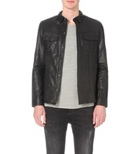 Allsaints Dangan Leather Shirt Black