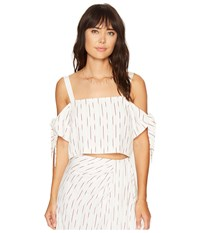 Bishop Young Tie Sleeve Crop Red White Stripe Women's Clothing