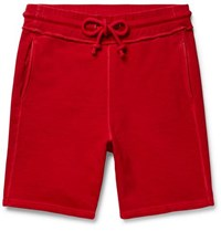 Maison Martin Margiela Garment Dyed Loopback Cotton Jersey Drawstring Shorts Red