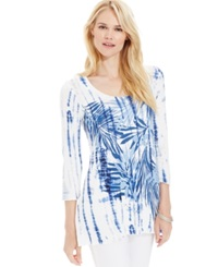 Miraclesuit Shaping Bamboo Print Tunic Top Estate Blue