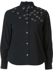 Jimi Roos Floral Embroidered Detail Shirt Black