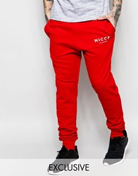 Nicce London Skinny Joggers Red