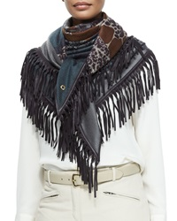 Cashmere Floral Print Leather Fringe Shawl Blue Brown Loro Piana