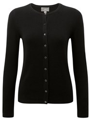 Pure Collection Crew Neck Cashmere Cardigan Black