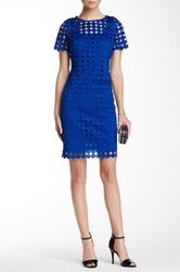 Julia Jordan Short Sleeve Circle Lace Shift Dress Blue