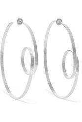 Annie Costello Brown Circle Scroll Silver Hoop Earrings One Size