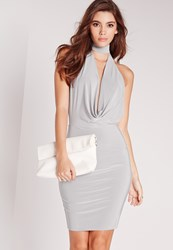 Missguided Halter Neck Band Bodycon Dress Grey Grey