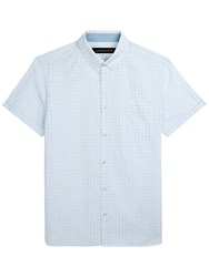 Jaeger Textured Short Sleeve Check Shirt Blue White