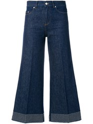 Red Valentino Flared Stud Trousers Cotton Polyester Blue