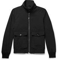 Tom Ford Leather Trimmed Stretch Wool Blouson Jacket Black