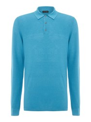 Chester Barrie L S Polo Shirt Blue