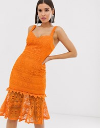 Love Triangle Lace Midi Dress With Fluted Hem And Sweetheart Neckline In Orange