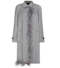 Prada Embellished Wool And Silk Coat Grey