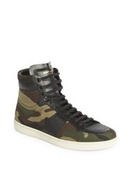 Saint Laurent Camouflage High Top Sneakers Deep Green