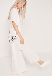 Missguided Paint Print Croc Cross Body Bag White White