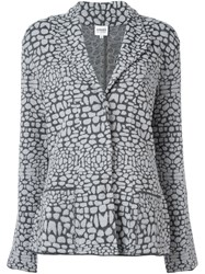 Armani Collezioni Patterned Knit Blazer Grey