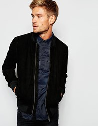 Pepe Jeans Pepe Suede Bomber Jacket Claus Slim Fit Black