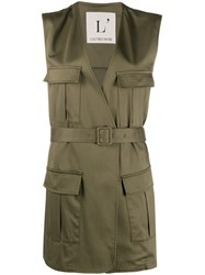 L'autre Chose Sleeveless Military Jacket Green