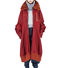Hannah Jinkins Xxl Waxed Cotton Bomber Coat Red