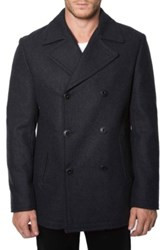 7 Diamonds 'Seville' Wool Blend Double Breasted Peacoat Black