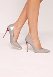 Missguided Perspex Heel Patent Court Shoes Grey Grey