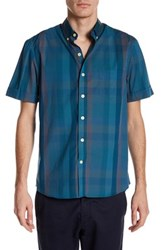 Kennington Checkered Short Sleeve Woven Shirt Blue