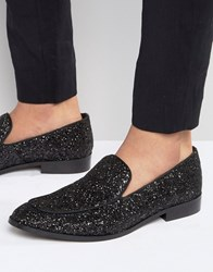 Dune Glitter Loafers In Black Black