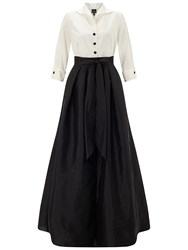 Adrianna Papell Blouse Hi Low Taffeta Gown Ivory Black