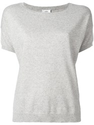 Closed Boat Neck Knitted Top Grey