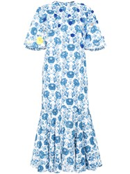 All Things Mochi Floral Print Midi Dress Cotton Polyester Blue