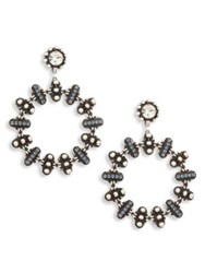 Dannijo Elara Crystal Hoop Earrings 2 Sapphire