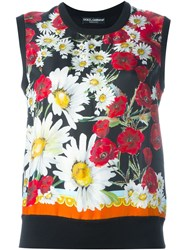 Dolce And Gabbana Daisy And Poppy Print Tank Top Black