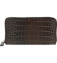 Dries Van Noten Crocodile Embossed Leather Wallet Black Grey