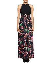 Proenza Schouler Tropical Print Sleeveless Maxi Dress Navy Red Pink Navy Red Pink Tro