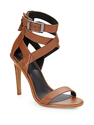 Tibi Vanya Leather Ankle Strap Sandals Brown