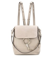 Chloe Faye Leather And Suede Backpack Grey