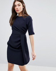 Vesper 3 4 Sleeve Pencil Dress With Pleat Detail Navy